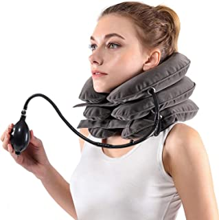 Inflatable Cervical Neck Traction Device and Collar Brace by Siwei for Instant Neck Pain Relief [FDA Approved] - Adjustable Cervical Traction Neck Stretcher Collar for Home Traction Spine Alignment
