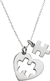 Fine jewelry Gifts Autism Awareness Month Gift - Womens 925 Sterling Silver Necklace 45 cm Rhodium Coated Italian Chain & Heart Shaped Pendant with Jigsaw Puzzle Piece Symbol