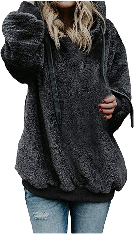 Yinella Women's Oversized Sherpa Pullover Hoodies Winter Warm Fuzzy Fleece Hooded Sweatshirts Sweaters with Front Pocket