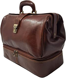 Dream Leather Bags DLB - Borsa Medico in Pelle Vera con Vano Porta Strumenti Colore Marrone - Pelletteria Toscana