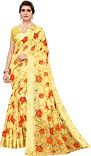 Crocon Digital Flower Printed Saree for Women with Unstitched Blouse Piece