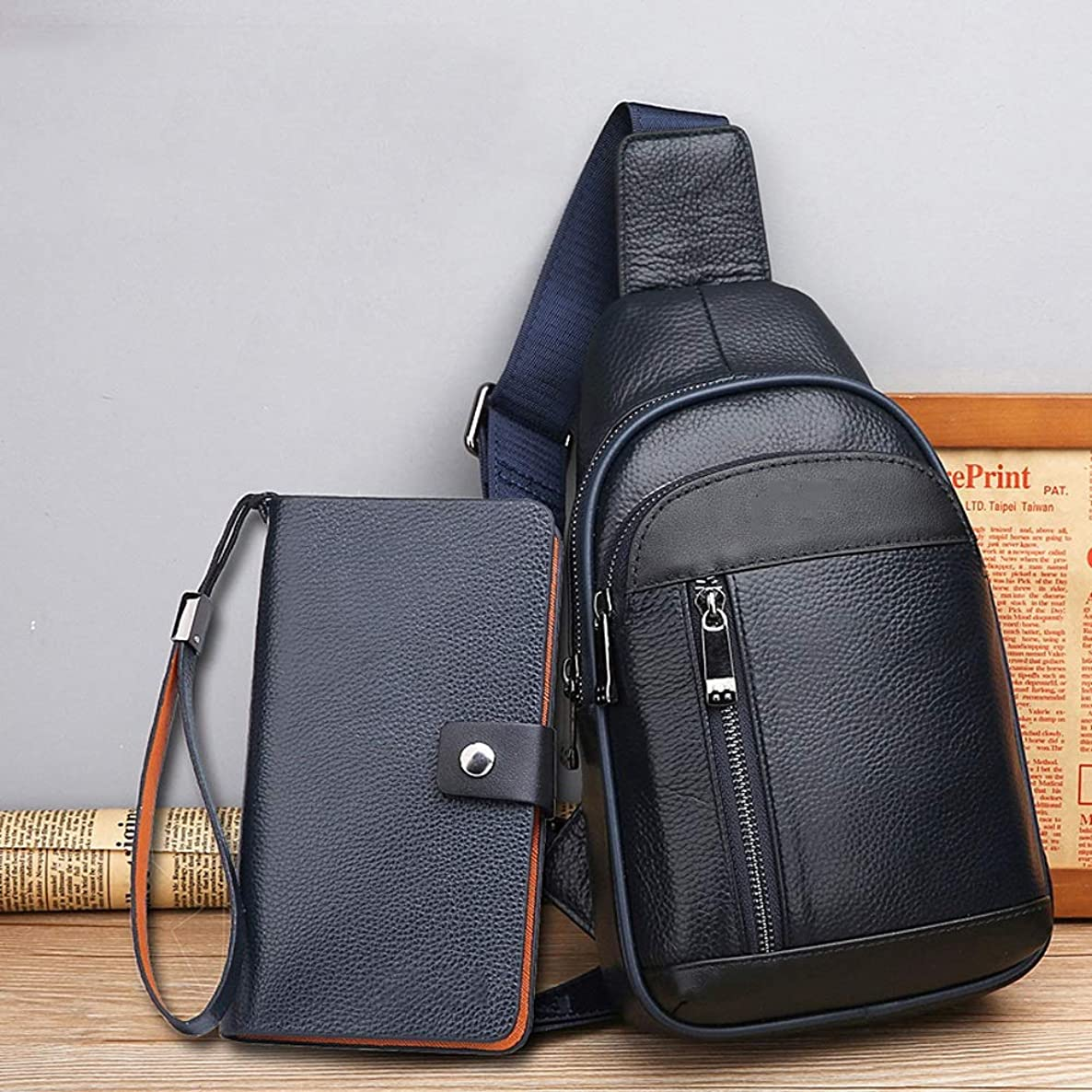 NY-close Leather Chest Bag, Men's Messenger Bag Shoulder Bag, Casual Diagonal Bag Small Backpack, Multi-Functional Business Leisure Sports Walking Outdoor Running (Color : Blue)
