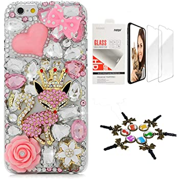 STENES Bling Case Compatible with iPhone 7 Plus/iPhone 8 Plus - Stylish - 3D Handmade [Sparkle Series] Crown Pink Fox Sweet Rose Flowers Design Cover with Screen Protector [2 Pack] - Pink