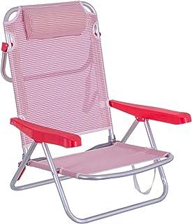 Silla Playa con cojín de 4 Posiciones de Aluminio y textileno de 61x47x80 cm (Rosa y Blanco)