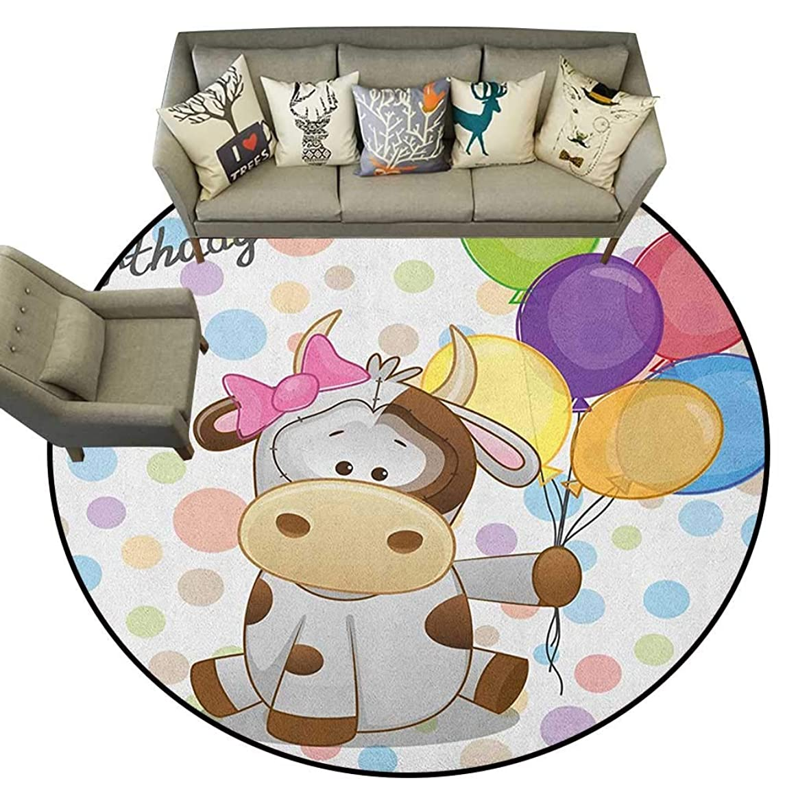 Kids Birthday,Round Rug Baby Cow Animal and Colorful Balloons on Abstract Polka Dot Backdrop Print D36 Baby Room Decor Round Carpets