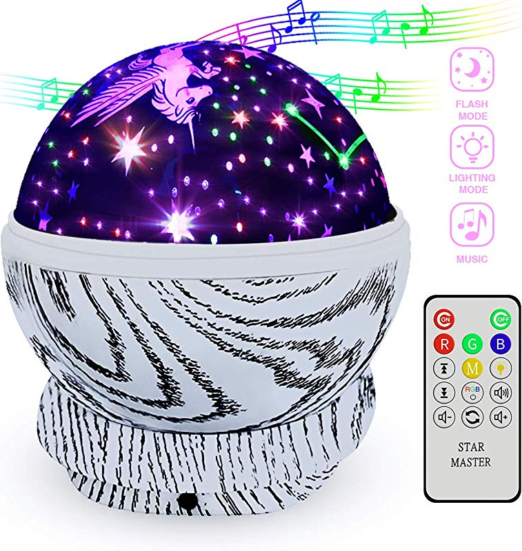TCJJ Rainbow Unicorn Night Light Projector Remote Control 360 Degree Rotating Kids Projection Lamp Star Night Light With 8 Multicolor Starry Light Gifts Presents For Kids Nursery Bedroom And Parties