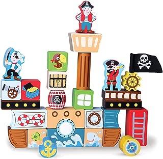Imagination Generation Blockbeard's Pirate Ship Wooden Building Blocks Playset (29 pcs)