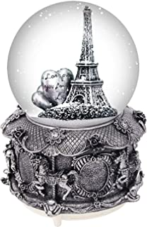DBANG Paris Eiffel Tower Snow Globe Music Box with Automatic Snowfall and Colorful Lights, 100mm 6