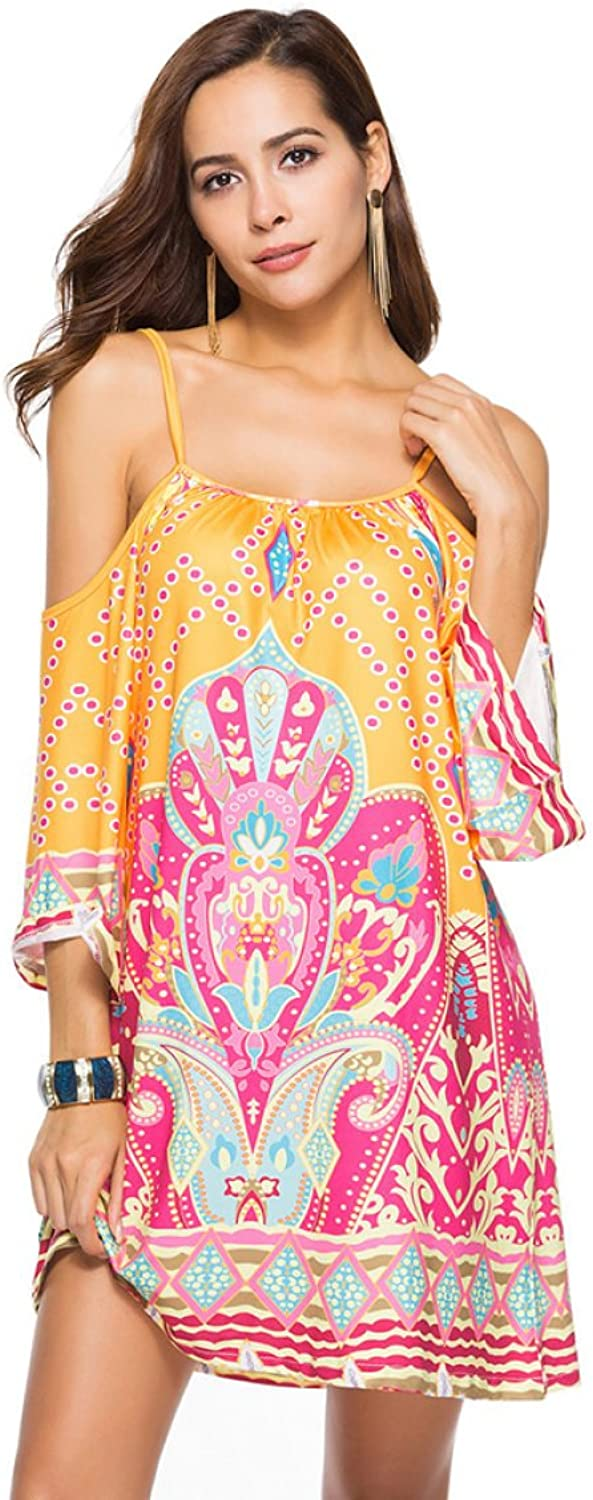 MBD Beach Skirt Harness Dress Printed Milk Silk Large Size Women's Skirt (color   Pink and Yellow, Size   M)