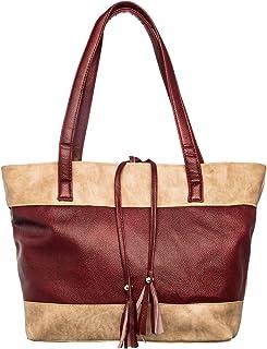 Khadim's Maroon Synthetic Contrast Casual Handbag for Women
