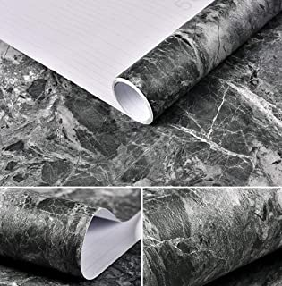 Amao Black Grey Look Marble Effect Paper Removable Wallpaper Film Self-Adhesive Granite Peel Stick Backsplash 15.7''x79''