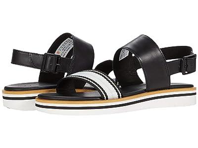 Timberland Adley Shore Ankle Strap Sandal (Black Full Grain Leather) Women