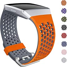 SKYLET Bands Compatible with Fitbit Ionic, Soft Silicone Breathable Replacement Wristband Compatible with Fitbit Ionic Smart Watch with Buckle [Orange-Gray, Large]