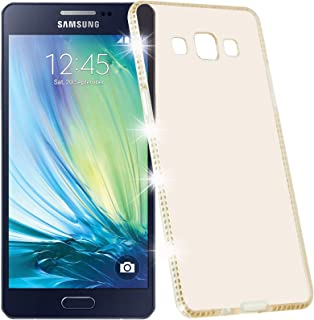 Cadorabo Case Works with Samsung Galaxy A5 2015 (5) in Diamond Gold (Design Strass) – Shockproof Scratch Resistant Gel Case Protective Shell Bumper Skin Back Cover