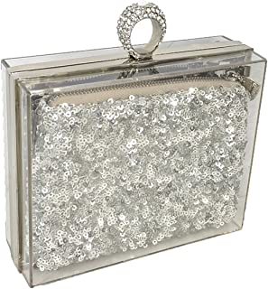 Maid of Honor Lucite Clutch & Cosmetic Set,Silver