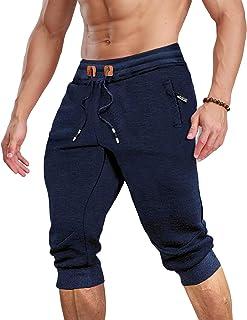 MAGCOMSEN Men's 3/4 Jogger Capri Pants with Zipper Pockets Knee Length Running Training Workout Shorts