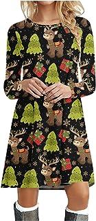 Briskorry Kerstjurk voor dames, elegante ronde hals, blousejurk, vintage, klassiek, baljurk, kerstkostuum, herfstjurk, lan...