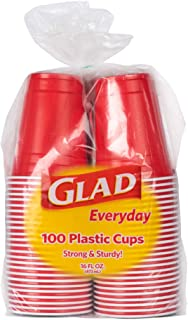 Glad Everyday Disposable Plastic Cups for Everyday Use   Red Plastic Cups Strong and Sturdy Red Plastic Party Cups for All...