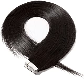 Elailite Extensiones de Pelo Natural Adhesivas Cabello Remy Humano - 30 cm #1B Negro Natural - [2g *20 Piezas] 40g Tape in Hair Extension Liso