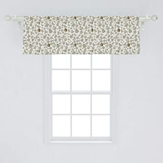 Ambesonne Birds Window Valance, Summery Themed Spotted Butterflies and Birds on Polka Dotted Background, Curtain Valance for Kitchen Bedroom Decor with Rod Pocket, 54