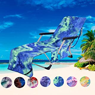 """JVJQ Pool Chair Cover with Side Pockets,Microfiber Chaise Lounge Chair Towel Cover for Sun Lounger Pool Sunbathing Garden Beach Hotel,Easy to Carry Around,No Sliding,Tie-Dye Green(82.5"""" x 29.5"""")"""