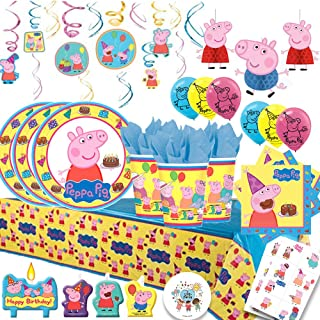 Another Dream Peppa Pig Mega Deluxe Party Pack with Decorations for 16 with Plates, Napkins, Cups, Tablecover, Candles, Swirls,Tattoos, Set of 3 Honeycomb Decorations, 6 Balloons and Exclusive Pin