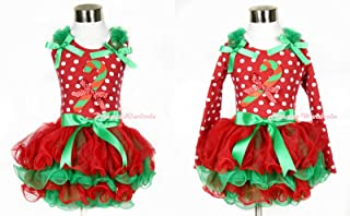 Xmas Girl Red Green Petal Skirt Candy Cane Hot Red White Dots Tank Top NB-8Year