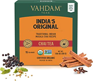 VAHDAM, India's Original Masala Chai Tea Bags, 30 TEA BAGS, 100% NATURAL SPICES & NO ADDED FLAVOURING - Blended & Packed i...