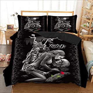 Skull Duvet Cover Queen 3D Ride or Die Printed Bedding Duvet Cover with Zipper Closure, 3 Pieces(1 Duvet Cover +2 Pillow Cases Soft Hypoallergenic Microfiber 90