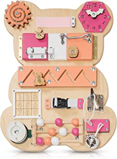 Toddler Busy Board Bear for 1 2 3 Year Old - Wooden Handmade Baby Sensory Activity Boards with Keys, Lock, Latches, Time T...