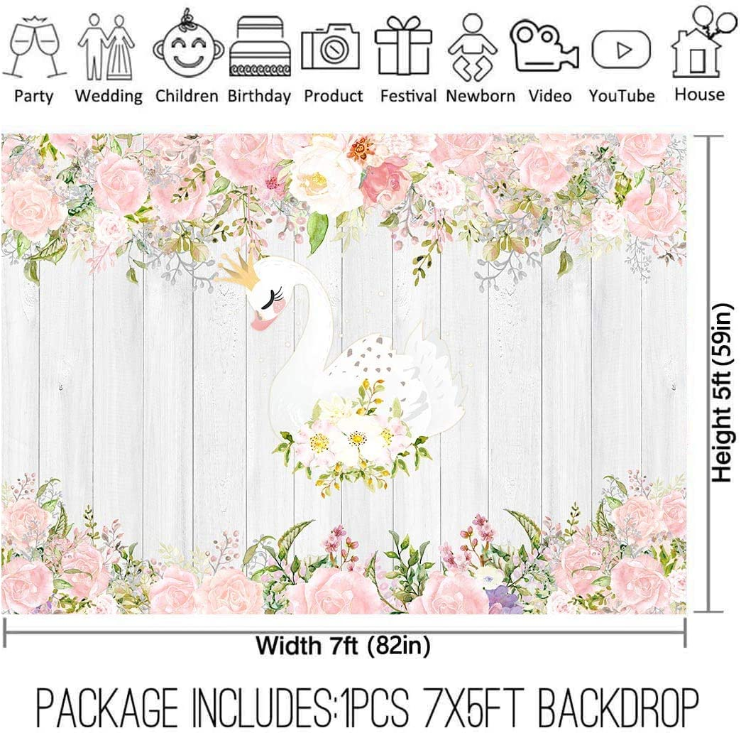 Allenjoy 7x5ft Swan Princess Backdrop for Girls 1st First Tutu Ballerina Floral Cartoon Birthday Party Decorations Supplies Baby Shower Rustic Wooden Background Favors Decor Banner Booth Photography