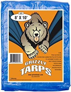 Best B-Air Grizzly Tarps - Large Multi-Purpose, Waterproof, Heavy Duty Poly Tarp Cover - 5 Mil Thick (Blue - 8 x 10 Feet) Review