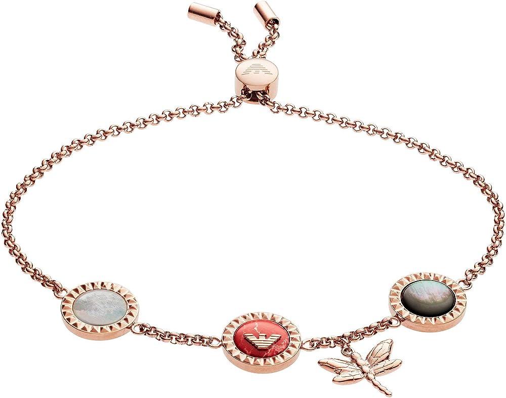 Emporio armani, braccialetto da donna,  in acciaio tonalità oro rosa e madreperla EGS2566221