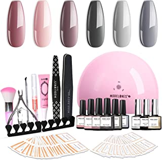 Modelones Gel Nail Polish Kit Popular Nude Grays Colors Gel Collection with 48W UV/LED Light - 6 Colors Gel, Matte Top Coat, Base Top Coat, Upgraded Manicure Tools