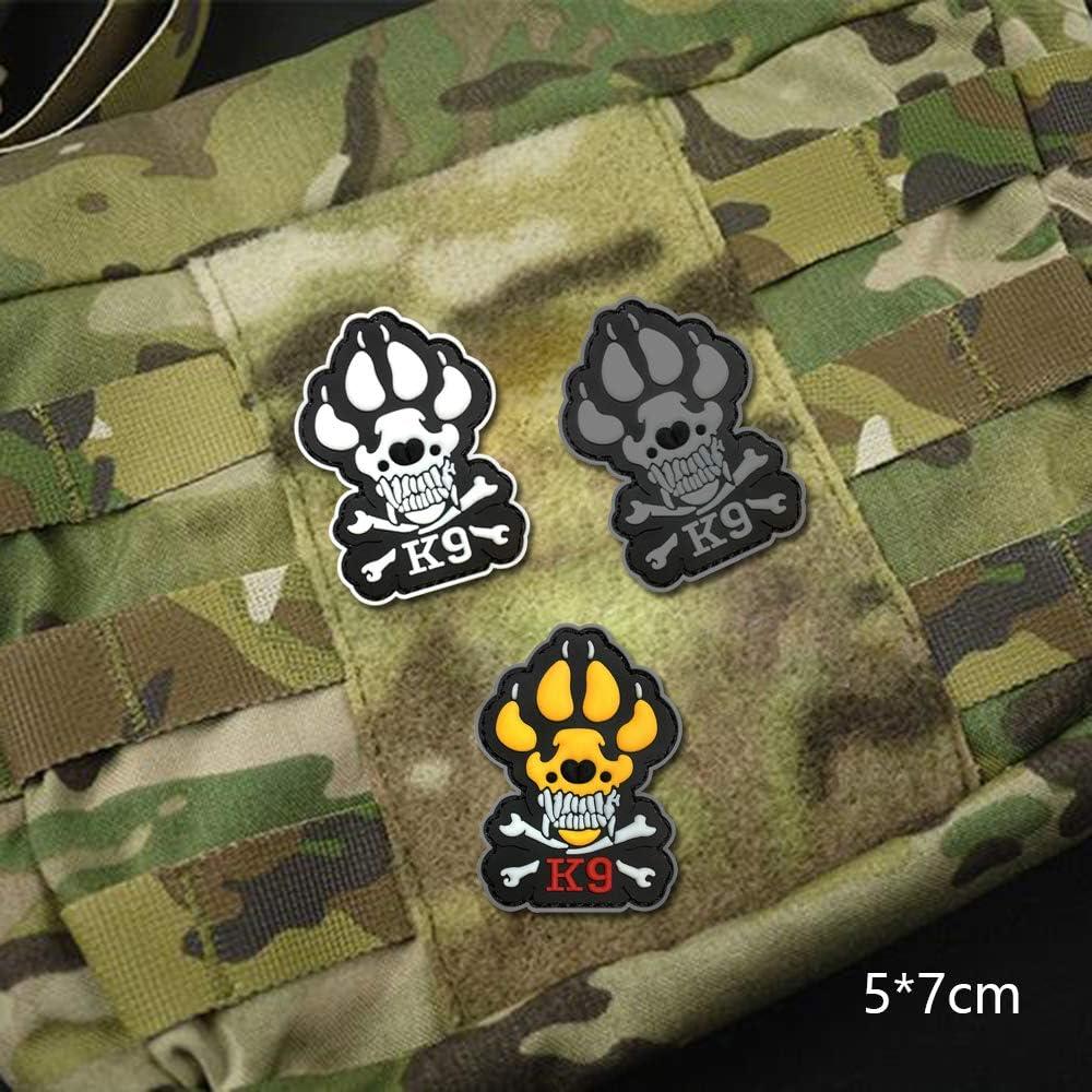 Morton Home K9 /& Crossbone Killer Attack Police Dog Fastener PVC Embroidered Army Swat Morale Hook Loop Backing Tactial Badge Swat for Service Animal Vest Morale Patch