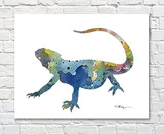 Bearded Dragon Lizard Abstract Watercolor Art Print by Artist DJ Rogers