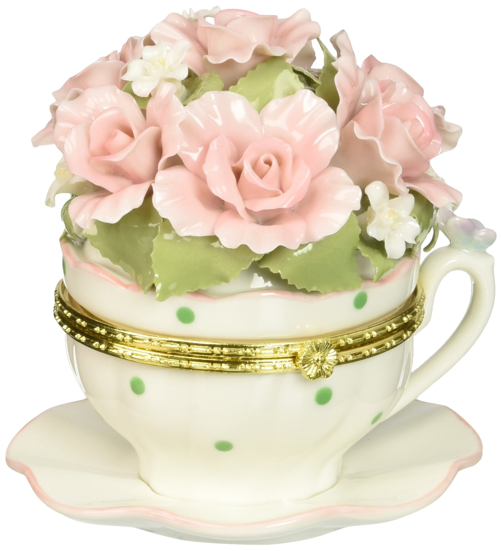 Image of Pretty Teacup Floral Rose Musical Figurine Trinket Box