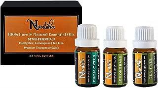 Nualoha Top 3 Detox Essential Oils Gift Set-Australian Tea Tree, Eucalyptus And Lemongrass From Himalayan Reg.-Pack(3x10ML)