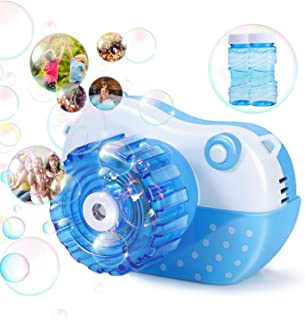 Bubble Machine, Vogek Funny Camera Bubble Blower Portable Baby Bubble Maker with Music and Light Outdoor  Indoor Activity, Best Gaming Toy for Kids Toddlers Boys Girls Pets (Blue)