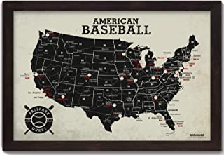GeoJango Framed Baseball Stadium Map, Sports Gift For Baseball Fans - Includes 35 Red Map Push Pins