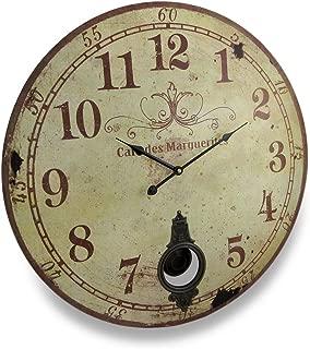 Things2Die4 Cafe De Marguerites Vintage Style Pendulum Wall Clock 23 In.