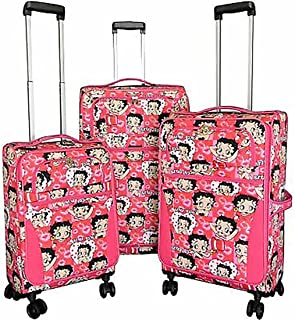 """Betty Boop 3 pcs luggage set pink 4 pairs wheels Expandable Spinner 28"""""""