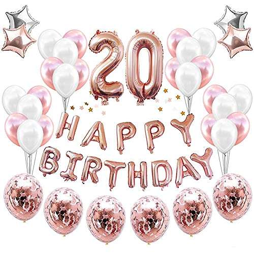 HankRobot 20th Birthday Decorations Party Suppies38packRose Golden Number 20 Balloons Happy