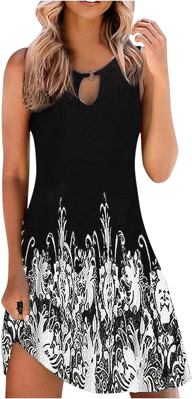 Gerichy Summer Dresses for Women 2021, Womens Sleeveless Crewneck Floral Boho Short Mini Dress Sexy Bodycon Beach Dresses