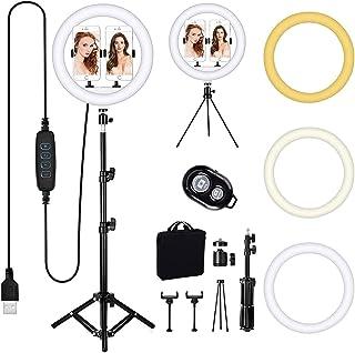 LED Selfie Ring Licht met Statief Stand, Queta 12 Inch Ring Licht met 3 Kleurmodi en 10 Helderheid, USB Powered, Telefoonh...