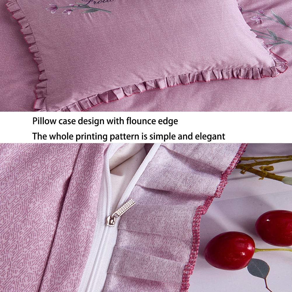 QYZLT Coton européen Jupe de lit brodé Quatre Ensembles de Coton Super Doux Couette literie Capuche Double gray