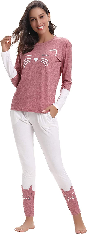 Aibrou Women's Kitty Cat Cute Print Pajamas Long Sleeve and Pants Cotton PJ's