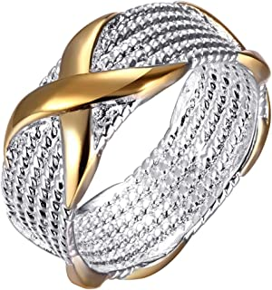 AWLY Women Engagement Wedding Band 925 Sterling Silver Gold X Criss Cross Eternity Ring