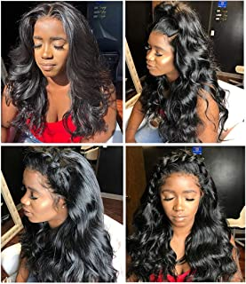 Lace Front Wigs Brazilian Hair Body Wave Human Hair Wigs For Black Women 13x4 Frontal Pre Plucked With Baby Hair 130 Density Bleached Knot Glueless Free Part Can Be Bang Remy Virgin One Day 24 Inch