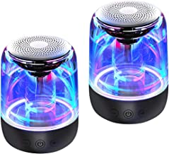 Mini Bluetooth Speakers, Dancing LED Lights, True Wireless Stereo (TWS) Speakers for Phone/Tablet/PC/TV, Loud HD Sound with Enhanced Bass, Aux Input, Small Portable Pocket Size, 12H Playtime - 2 Pack